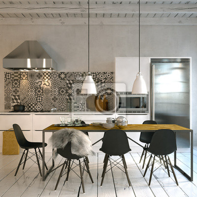obraz skandinavische k che w altbau loft kuchnia w stylu. Black Bedroom Furniture Sets. Home Design Ideas