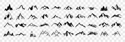 Obraz Sketch, hand drawn mountain peaks set collection
