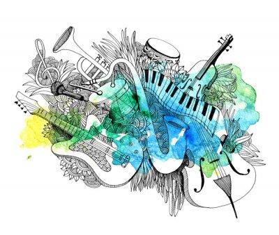 Obraz Skład instrumentów muzycznych z odrobiną kolorów