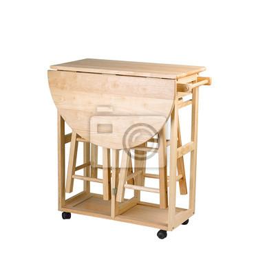 Obraz sk adany i ruchomy st taborety drewniane na for Table pliante cuisine pas cher