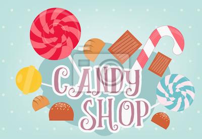 Sklep ze słodyczami. Ilustracji wektorowych.
