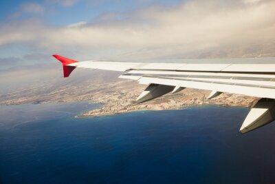 Obraz skrzydło samolotu, podejście wyspa
