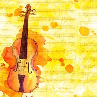 Obraz Skrzypce na wyblakły muzyczny blues, złoty stonowany szablon projektu