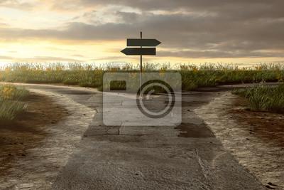 Obraz Skrzyżowanie z drogowskazem