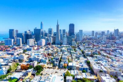 Obraz Skyline of San Francisco, California, USA, showing urban sprawl and downtown financial district.
