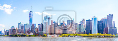 Obraz Skyline panorama of downtown Financial District and the Lower Manhattan in New York City, USA