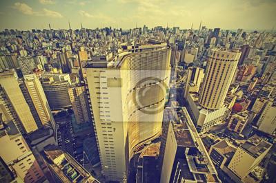 Skyline śródmieściu Sao Paulo, Brazylia, zabytkowe stylu retro.