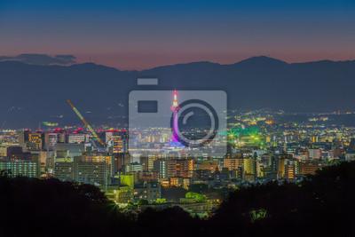 Skyline z Kioto Pejzaż w nocy