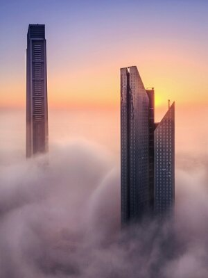 Obraz Skyscrapers And Cloudscape During Sunset