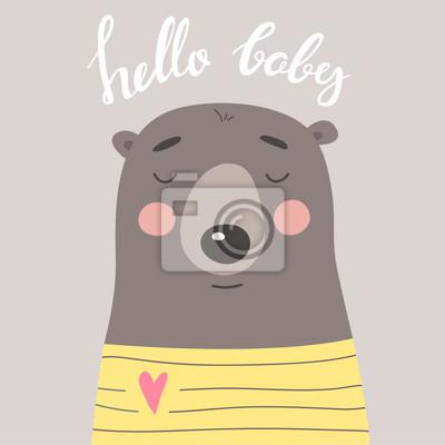 Śliczna karta z niedźwiedziem