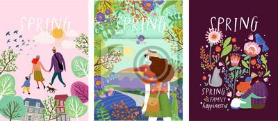 Obraz śliczne plakaty z okresu wiosennego, ilustracje wektorowe szczęśliwej rodziny w przyrodzie, dziewczyny na tle krajobrazu i rodzina z kotem otoczonym kwiatowymi wzorami