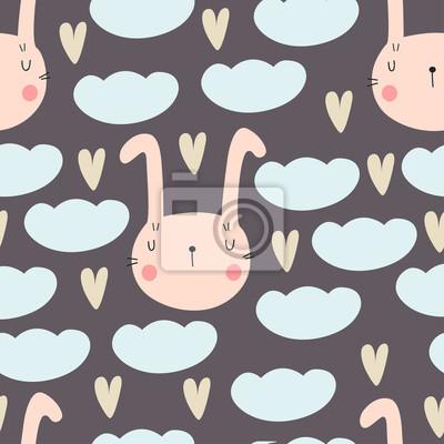 Śliczny bezszwowy wzór dla dziecko prysznic z królikiem