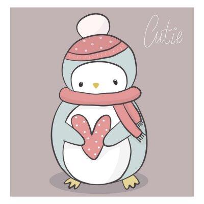 Śliczny Bożenarodzeniowy pingwin w kapeluszu