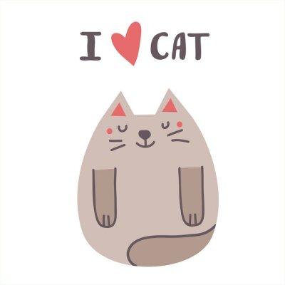 Śliczny druk kot z literowaniem. kocham kota