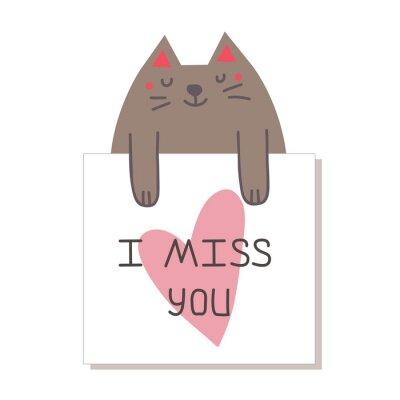 Śliczny kot trzyma druk z sercem i literowaniem. tęsknię za Tobą