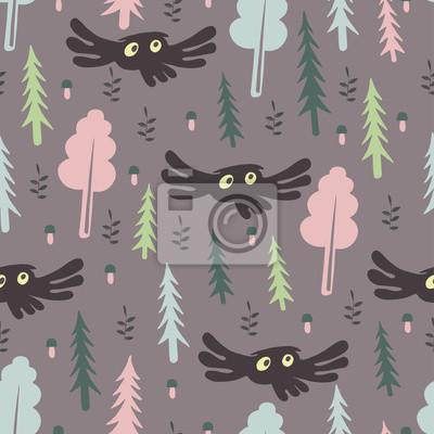 Śliczny lasu wzór z sową