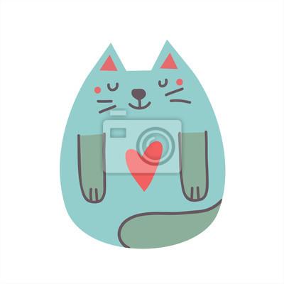 Śliczny nadruk z kotem o kształcie serca na piersi