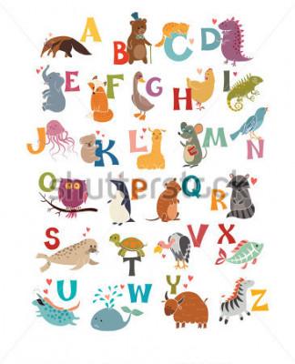 Obraz Śliczny wektorowy zoo abecadło. Śmieszne zwierzęta kreskówek. Wektorowa ilustracja EPS10 odizolowywająca na białym tle. Listy. Naucz się czytać