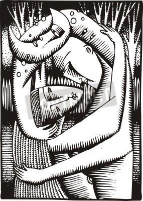 Obraz słodki pocałunek sztuki ilustracji jako ciekawe tło