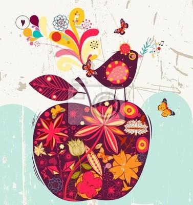 słodkie jabłko i ptaków