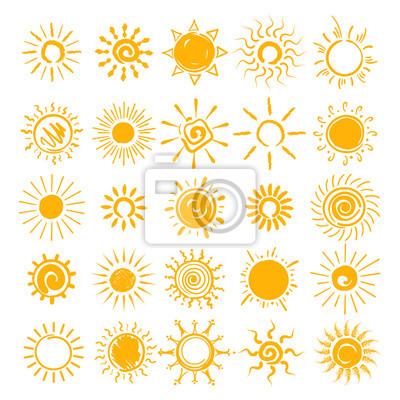 Obraz Słońce ilustracja. Wektorowe ręki rysować słońce ikony, doodle kreskówki ranku lata nakreślenia słońca odizolowywający na białym tle