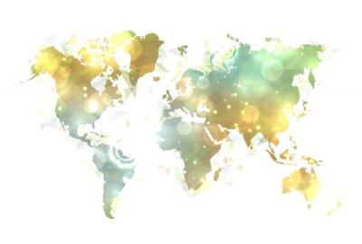 Obraz Słoneczny mapa świata.