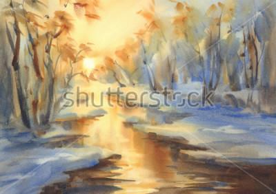 Obraz Słoneczny zimowy krajobraz z rzeką w lesie akwarela. Śnieżny tło