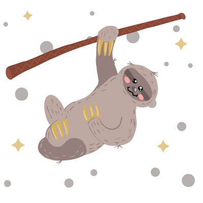 Obraz sloth drawn in scandinavian style. Vector. Crawling on the tree.