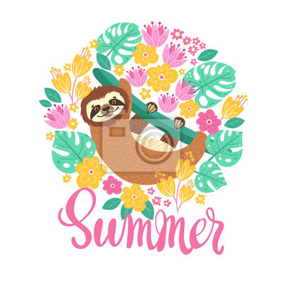 Sloth on the branch. Vector illustration with frame of leaves, flowers and lettering Summer on white background. Greeting card in tropical style.