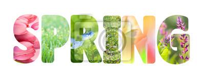 Obraz Słowo Wiosna z kolorowymi obrazami przyrody wewnątrz litery,
