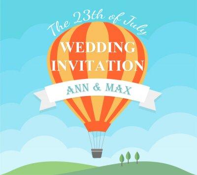 Ślubna zaproszenie karta z latanie balonem