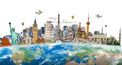 Obraz Słynne zabytki świata zgrupowane na Ziemi