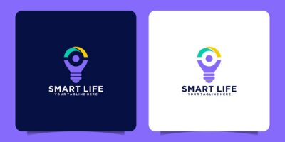 Obraz smart bulb logo with happy people concept and light bulb design template