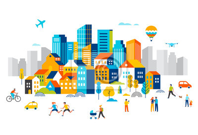 Obraz Smart city, landscape city centre with many building, airplane is flying in the sky and people walking, running in park.