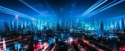 Obraz Smart Network and Connection city of Bangkok Thailand at night