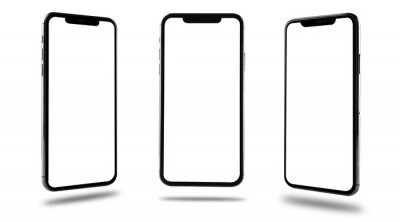 Obraz Smartphone mobile mockup blank screen three position front and side
