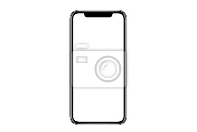 Obraz Smartphone similar to iphone xs max with blank white screen for Infographic Global Business Marketing Plan , mockup model similar to iPhonex isolated Background of ai digital investment economy. HD