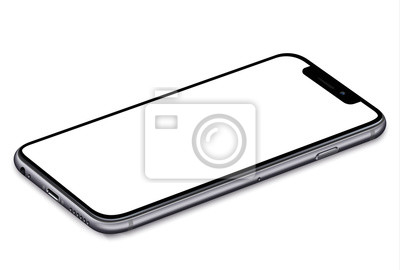 Obraz smartphone with a blank screen lying on a flat surface. High Resolution Vector eps10