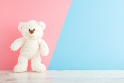 Obraz Smiling white teddy bear standing on wooden floor at light pink blue wall background. Pastel color. Empty place for inspiration, emotional, sentimental text, quote or sayings. Closeup. Front view.