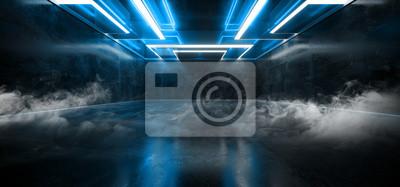 Obraz Smoke Fog Mist Laser Show Club Dark Neon Sci Fi Futuristic Retro Blue Glowing Ceiling Lights Concrete Grunge Garage Stage Tunnel Room Hall 3D Rendering