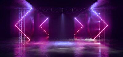 Obraz Smoke Sci Fi Futuristic Triangle Arc Gate Neon Laser Pantone Purple Pink Blue  Modern Alien Fashion Dance Club Showroom Garage Tunnel Corridor Concrete Cyber Virtual 3D Rendering