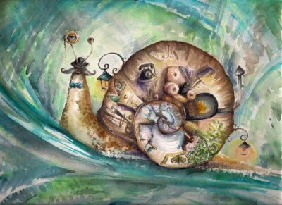 Obraz Snail with his house.Picture created with watercolors.