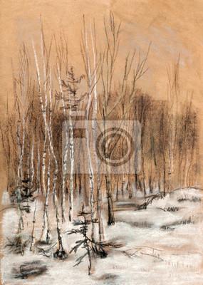 Obraz Śnieg drewna
