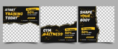Obraz Social media post template design set for gym and fitness. Black background with abstract yellow shape. Vector design with place for photo. Suitable for social media, flyers, banner, and web internet.