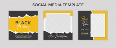 Obraz social media template post for promotion. template post for ads. design with yellow and black color.