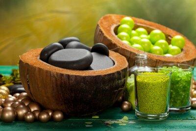 Obraz Sól do kąpieli i masaż kamieniami