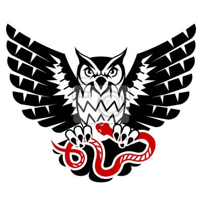 Sowa Z Otwartymi Skrzydłami Ataku Węża Czarne I Czerwone Tatuaż Obrazy Redro