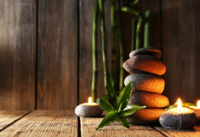 Obraz Spa kamienie, świece, bambusa oddziałów