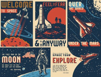 Obraz Space exploration vintage colorful posters