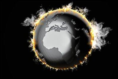 Obraz Spalanie kuli ziemskiej. 3d ilustracji